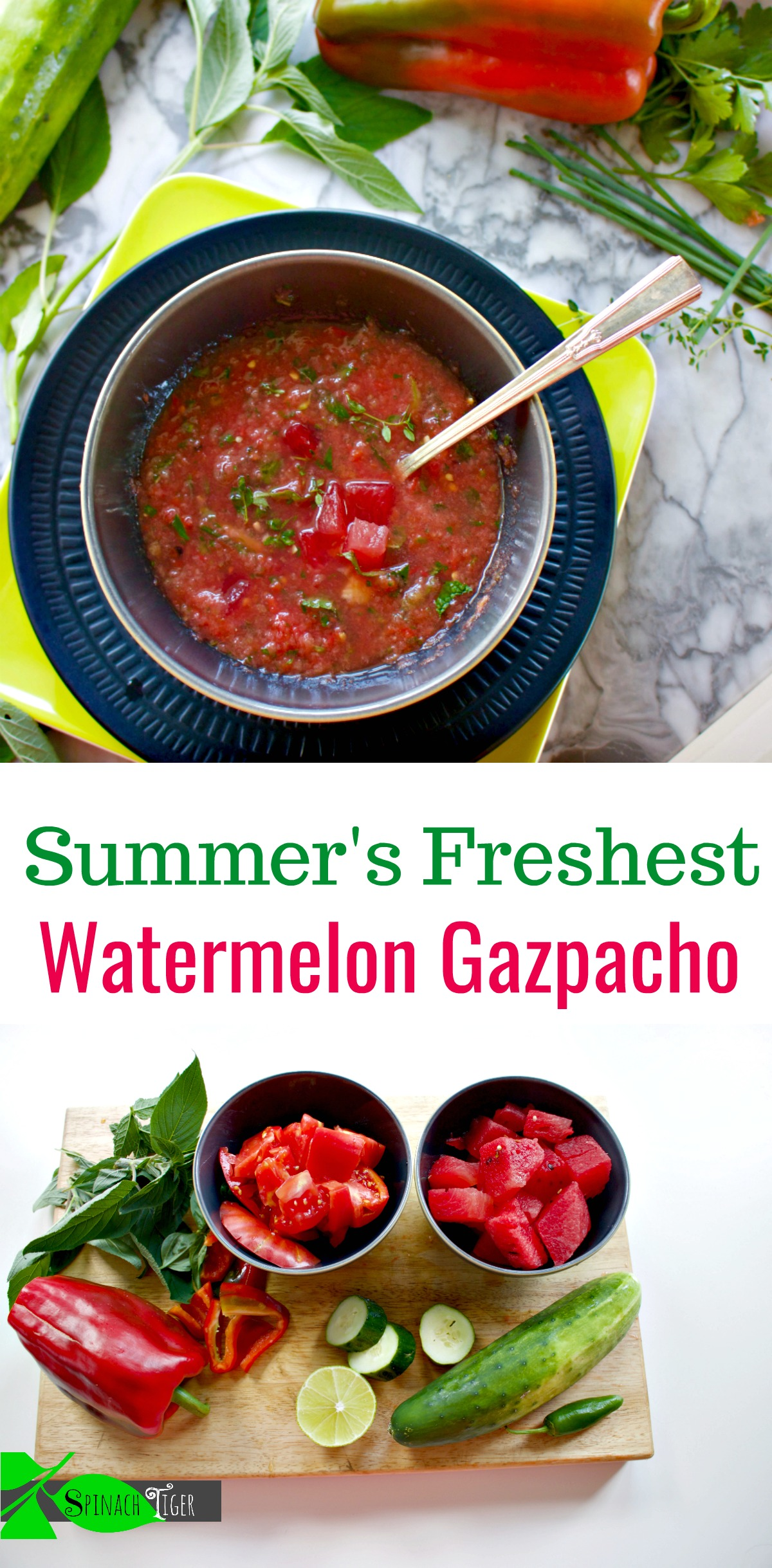 Recipe for Watermelon Gazpacho from Spinach Tiger