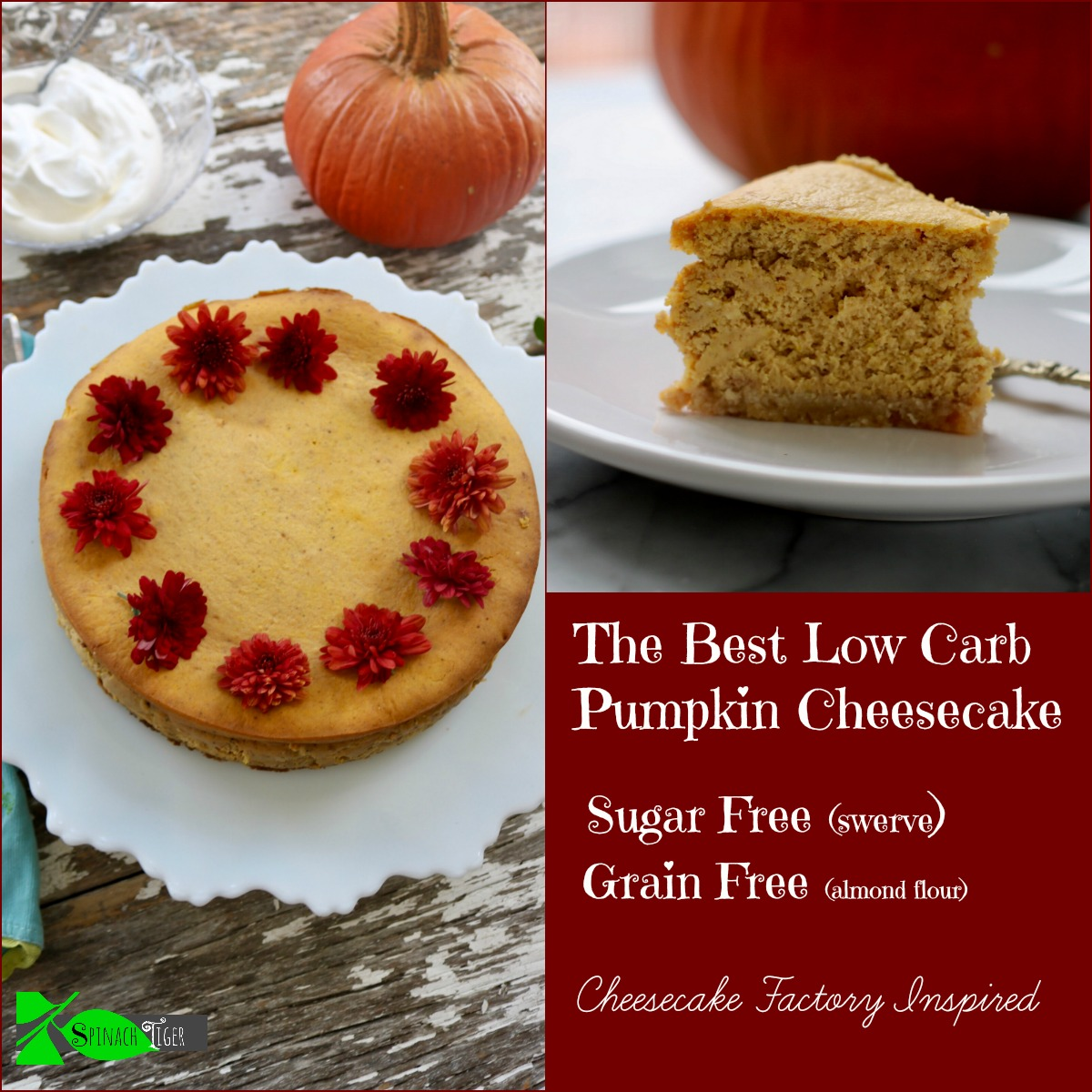 How to Make Low Carb Pumpkin Cheesecake Recipe from Spinach Tiger