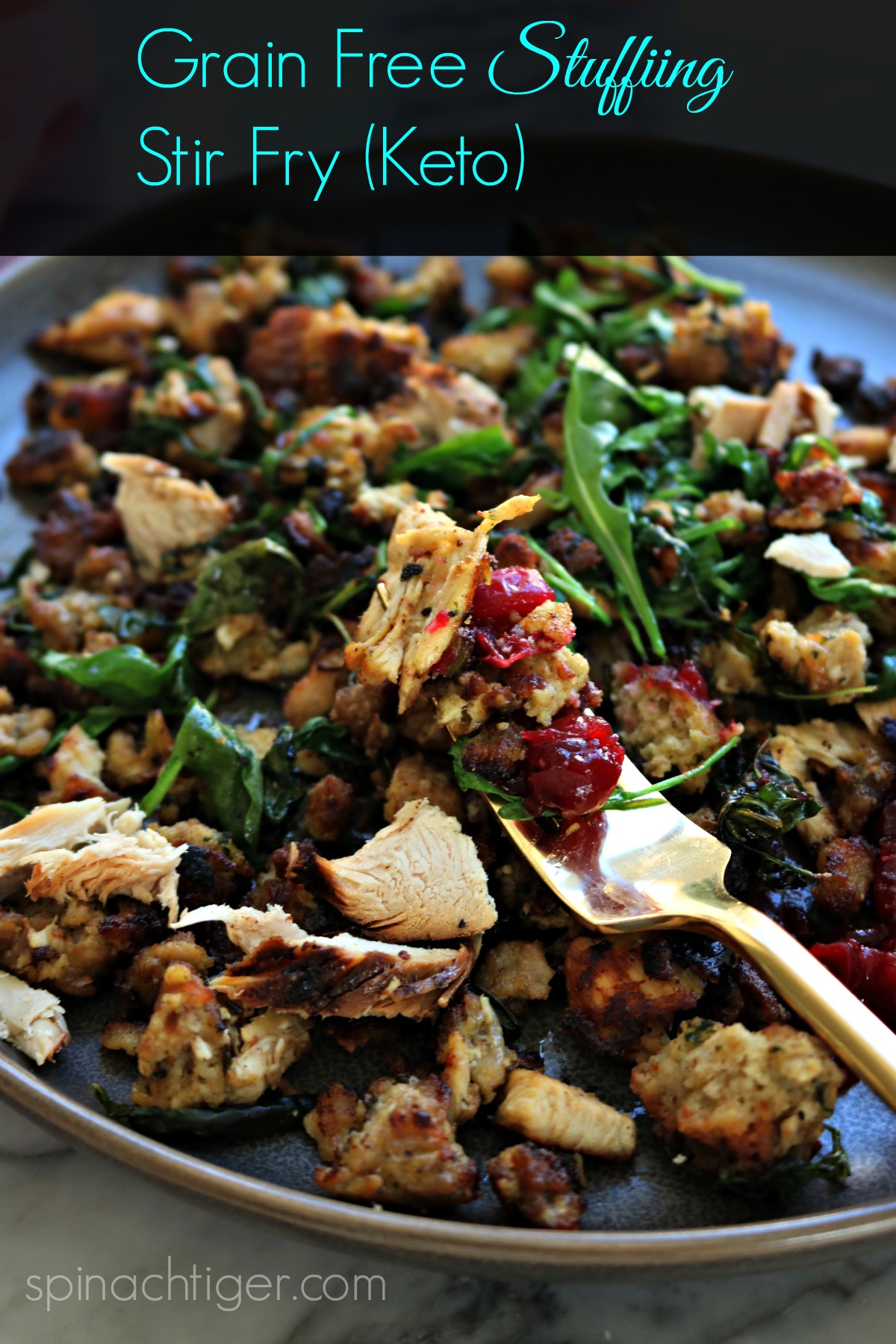 Grain Free Keto Stuffing Hash made with almond flour biscuit cubes, arugula, sausage, chopped turkey. So delicious and the perfect thing to do with Thanksgiving leftovers. #spinchtiger #thanksgivingleftovers #ketorecipe via @angelaroberts