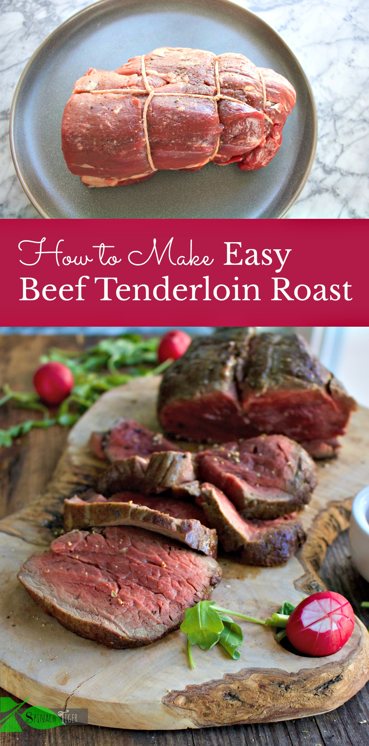 Preparing beef tenderloin couldn't be easier. How to sear, and roast beef tenderloin with sides to go with this perfect dinner. #beeftenderloin #spinachtiger via @angelaroberts