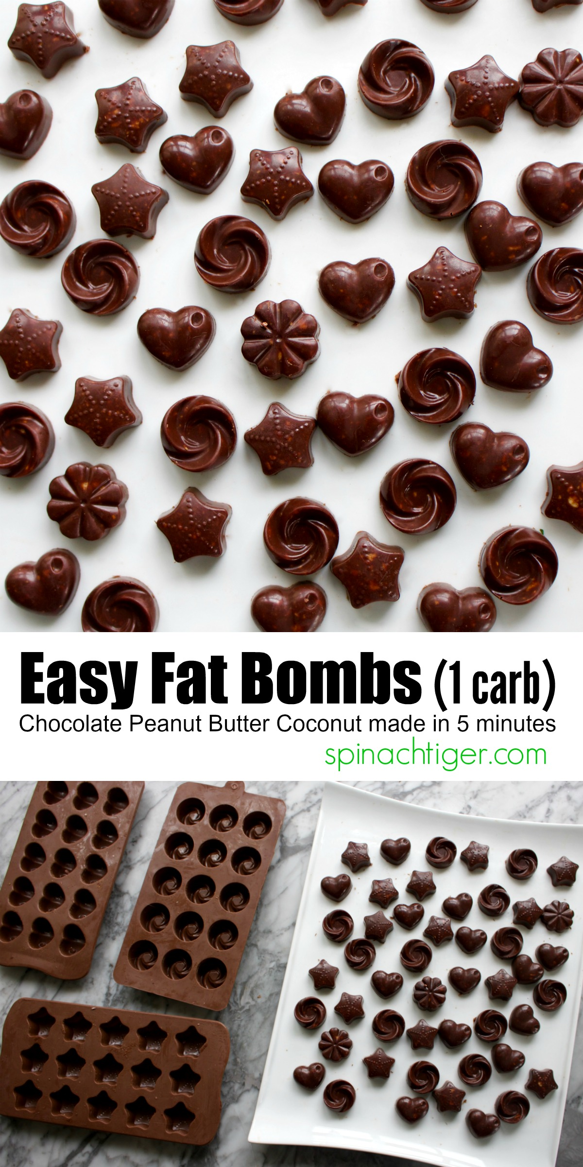 Easy Chocolate Peanut Butter Fat Bombs and How to Measure Peanut Butter easy! #fatbombs #spinachtiger (peanut butter, cocoa powder, coconut oil, butter, Swerve) #swerve via @angelaroberts