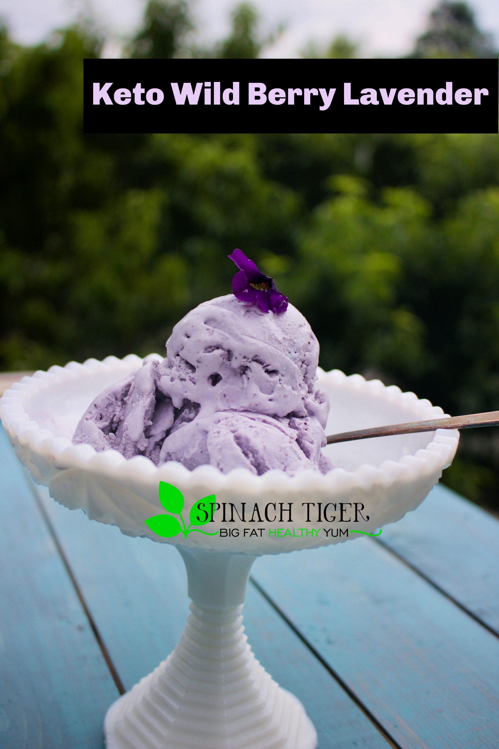 Make Jenny's Wild Berry Lavender recipe SUGAR FREE, GRAIN FREE, KETO Friendly. I used Blueberries, Lavender essential oil, and Swerve to make this creamy dreamy ice cream come true. #ketoicecream #spinachtiger via @angelaroberts