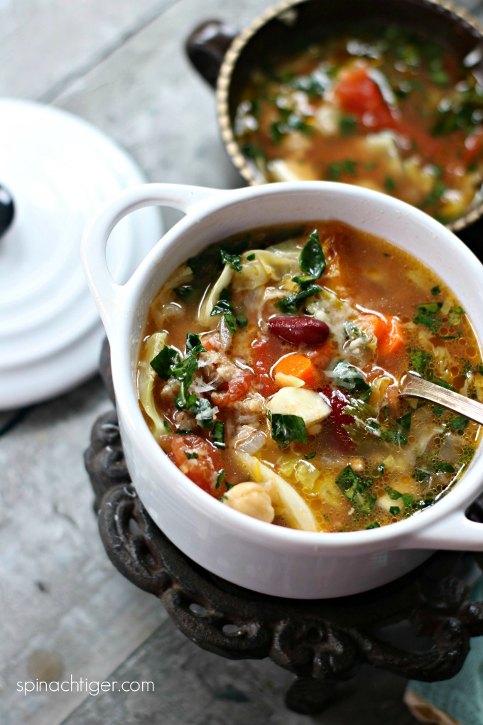 Italian Soup with Sausage and Beans from Spinach Tiger