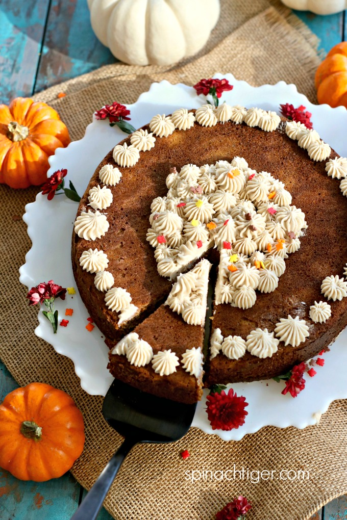 overhead view pumpkin cake