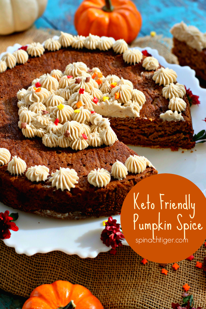 Grain Free Pumpkin Spice Cake with Pumpkin Spice Cream Cheese Frosting from Spinach Tiger #keto #lowcarb #pumpkin #cake #frosting