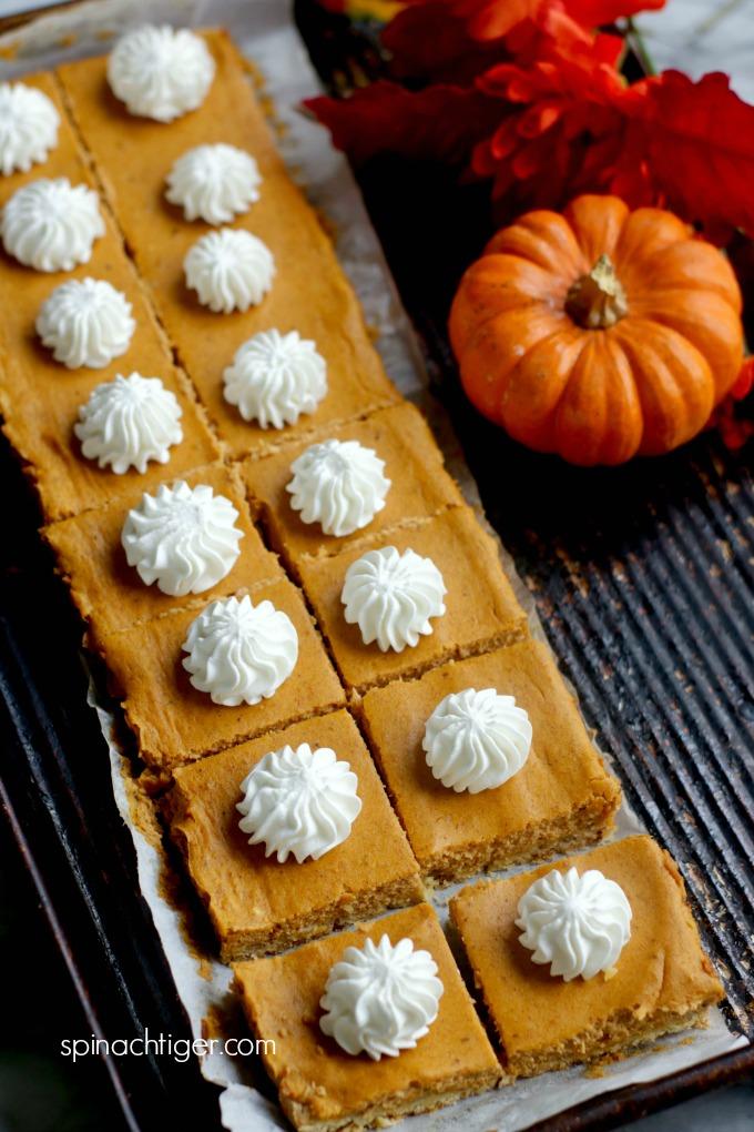 Grain Free Pumpkin Cheesecake Bars from Spinach Tiger