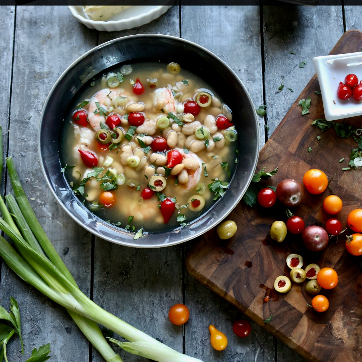Shrimp White Bean Soup with Canned White Beans