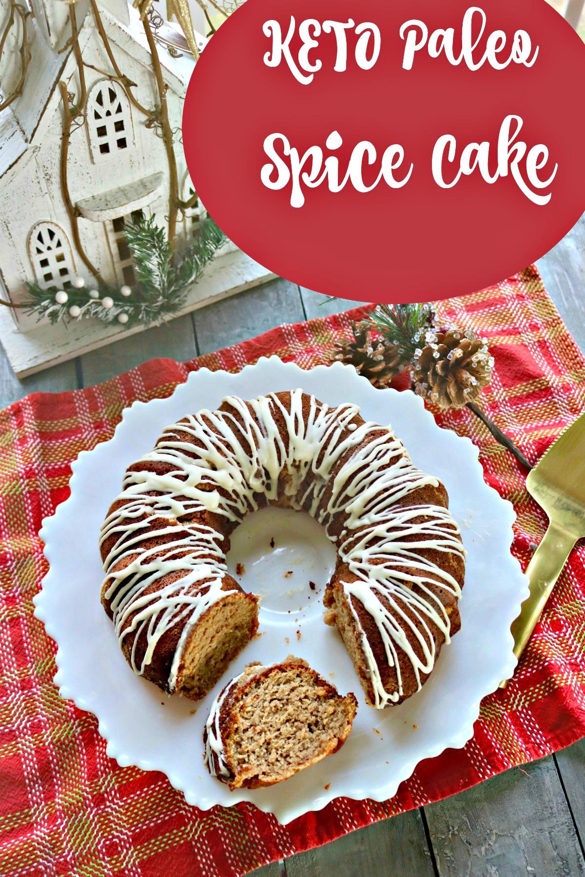 Keto Spice Cake made with almond flour, and various spices, swerve sweetener and cream cheese glaze. #ketobundtcake #ketospicecake #diabeticcake #spinachtiger #ketocreamcheeseglaze #ketoglaze #spinachtiger #glutenfreecake via @angelaroberts