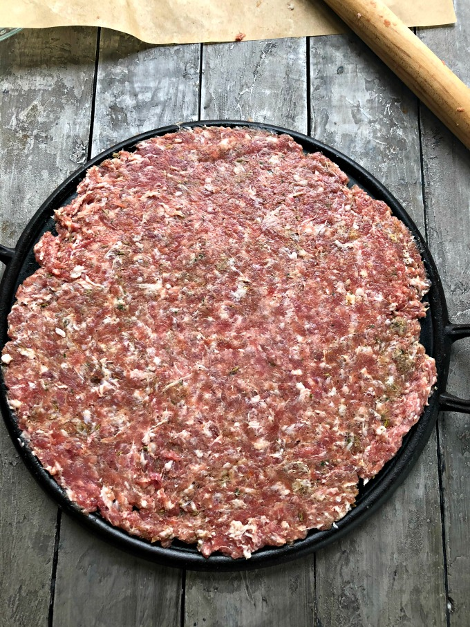 Raw Sausage for Sausage Crusted Pizza from Spinach Tiger