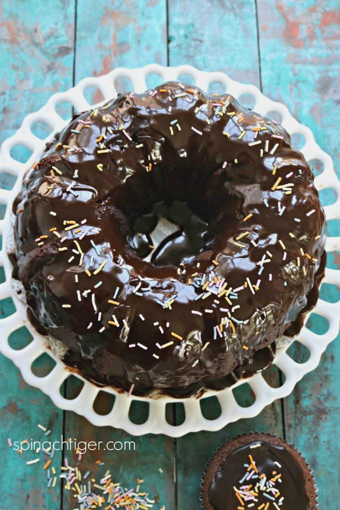 Keto Chocolate Bundt with Sprinkles