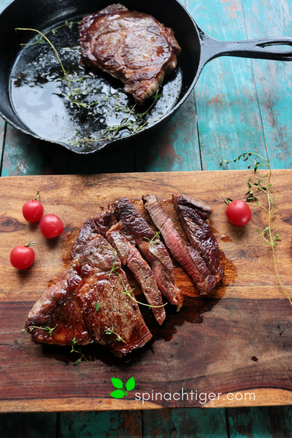 Cast Iron Perfect Ribeye Steak from Spinach Tiger