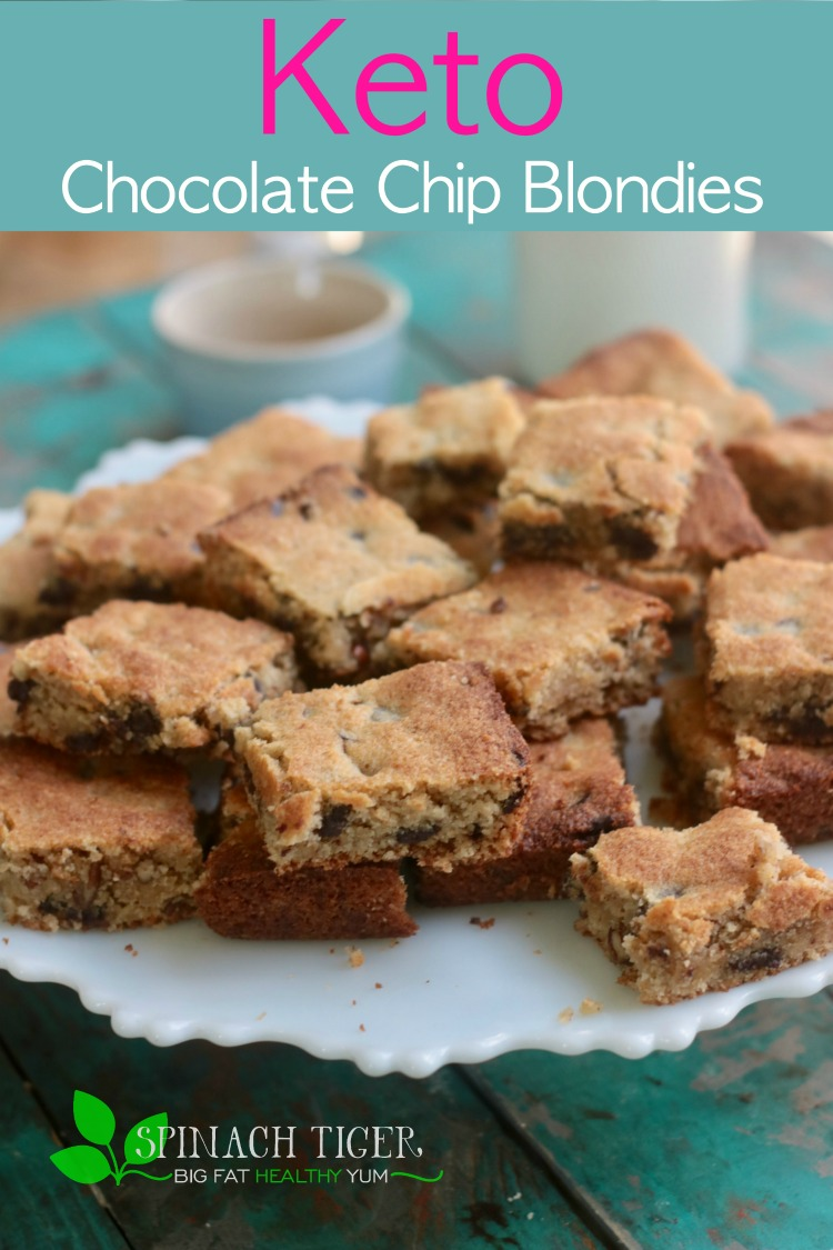 At only 1 net carb each, these keto chocolate chip brownies are the perfect snack. Gooey on inside, made with my favorite Choc Zero chocolate chips and pecans. Grain free, sugar free (swerve) and gluten free. #ketoblondies #ketochocolatechip #spinachtiger #choczero #swerve #ketocookies #ketobars via @angelaroberts