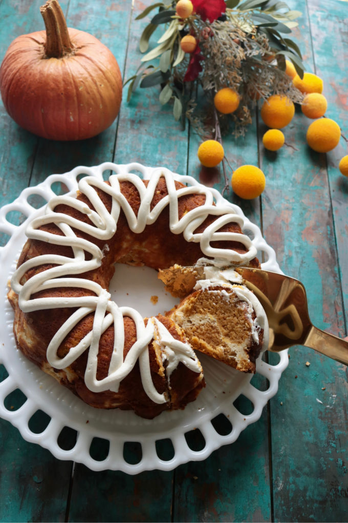 Cream Cheese Filled Low Carb Pumpkin Bundt Cake from Spinach Tiger