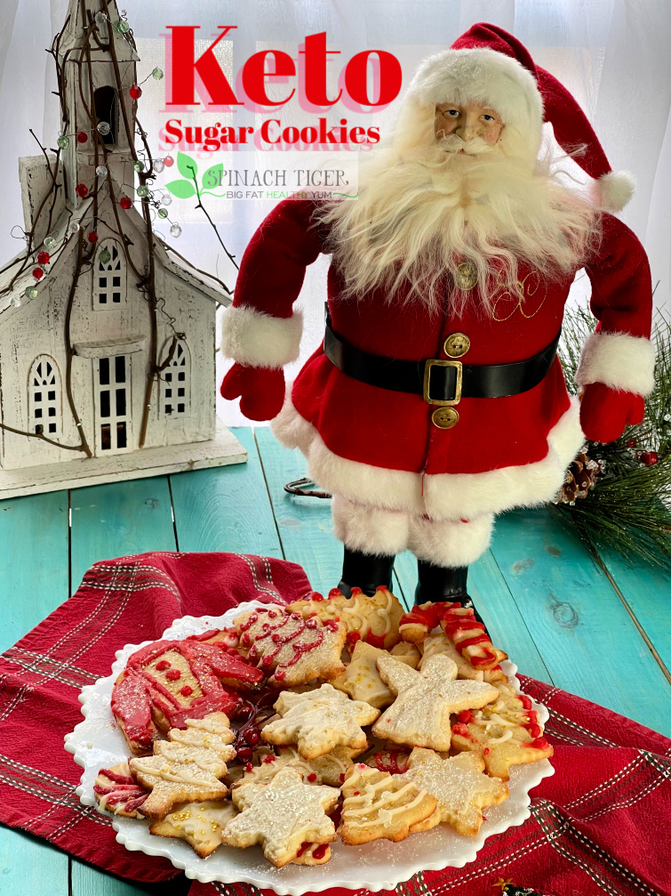 Delicious Keto Sugar Cookies. Grain Free, Gluten Fee, Paleo, Sugar Free. ONE NET CARB. Roll-out, decorate and have fun with these almond flour cookies from #spinachtiger #ketochristmascookies #ketocookies #paleocookies #swerve #almondflourrecipe via @angelaroberts