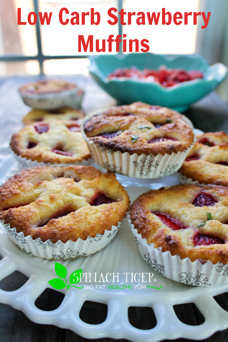 Delicious Keto Strawberry Muffins Recipe, gluten free, paleo, sold in our successful keot bakery. Perfect texture, kitchen tested, customer approved. #strawberries #ketostrawberrymuffins #ketomuffins #ketostrawberryrecipes #spinachtiger #paleostrawberrymuffins via @angelaroberts