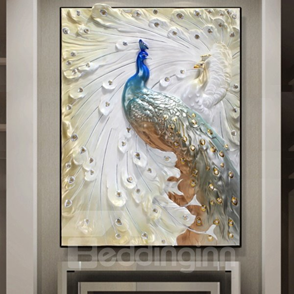 24 215 31in 3d Peacock Printed Hanging Canvas Waterproof And