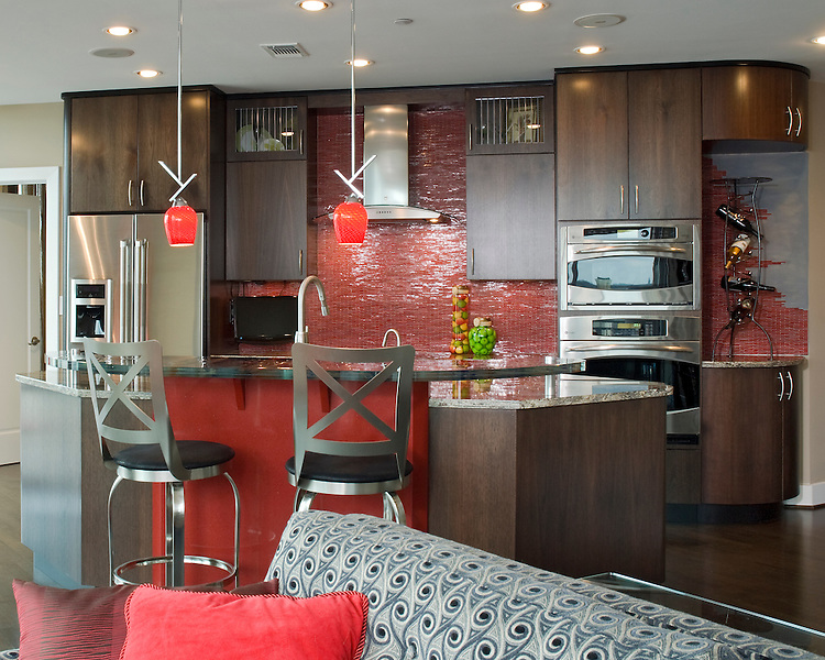 Contemporary Condo Kitchen With Red Accents John Magor