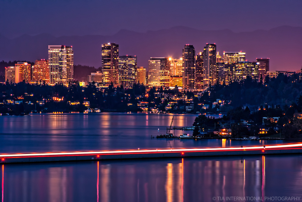 Bellevue Skyline Amp Lake Washington Night Tia