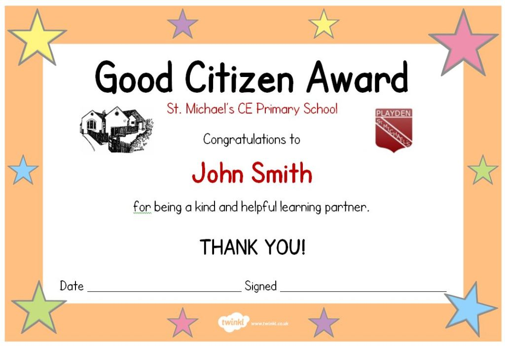 Citizenship Award Certificate