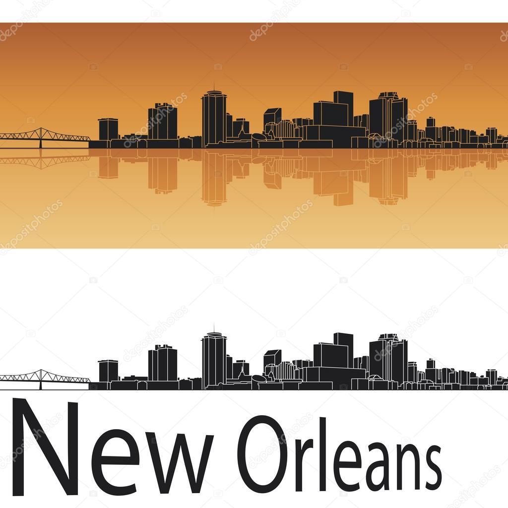 New Orleans skyline in orange background — Stock Vector ...