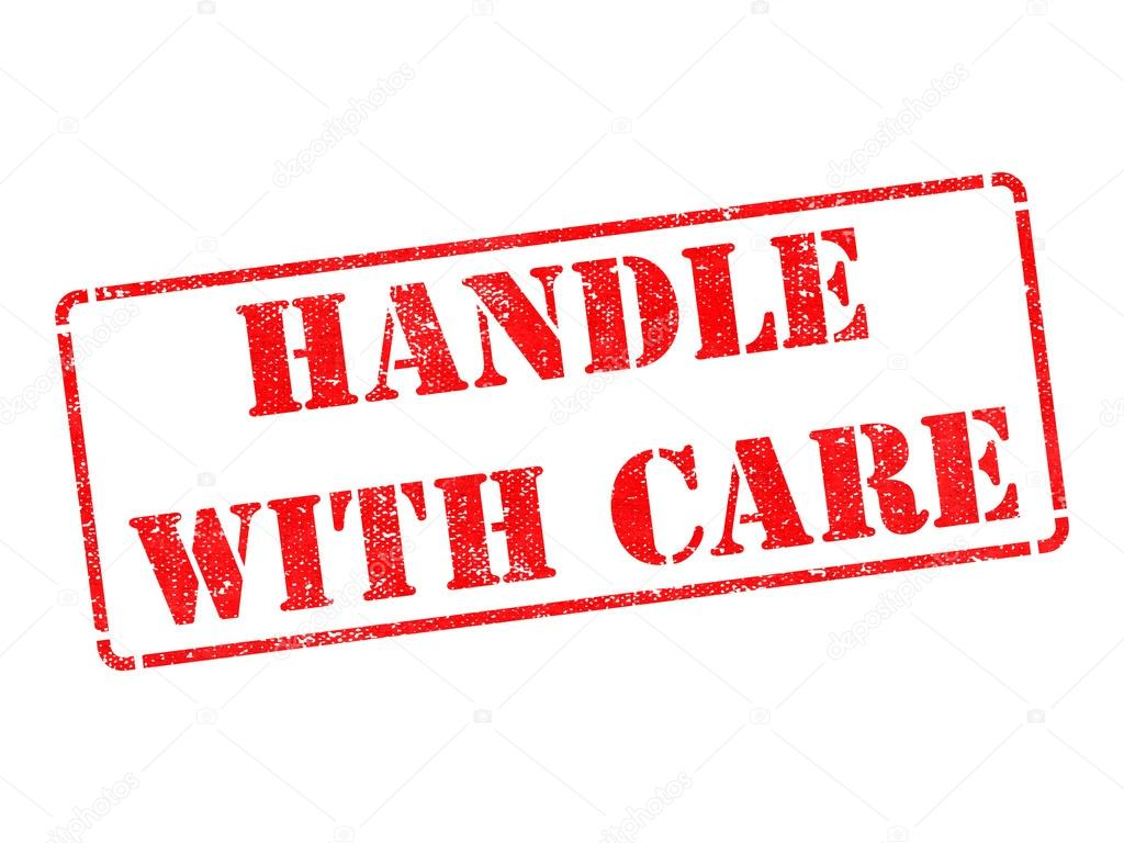 Handle with Care - Red Rubber Stamp. — Stock Photo ...