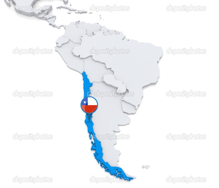 Chile on a map of South America     Stock Photo      kerdazz7  50416285 Chile on a map of South America     Stock Photo