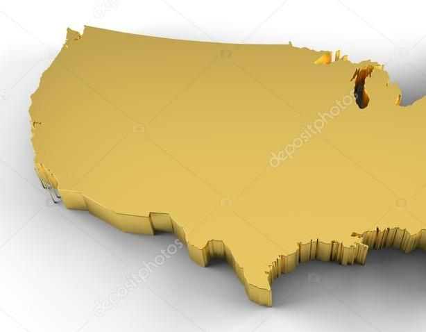 HD Decor Images » USA map 3D gold with clipping path     Stock Photo      meshmerize  36466363 USA map 3D gold with clipping path     Stock Photo