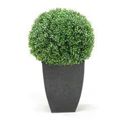 D Amp W Silks Artificial Boxwood Ball With Square Planter