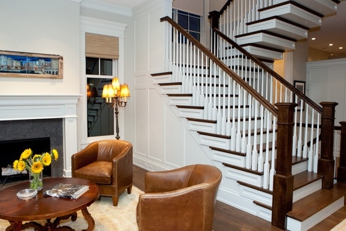 The New Craftsman Style Staircase   Craftsman Stair Railing Designs   Homemade   Simple 2Nd Floor Railing Wood Stairs Iron Railing Design   Entryway Stair   Plain Traditional Stair   Floor To Ceiling