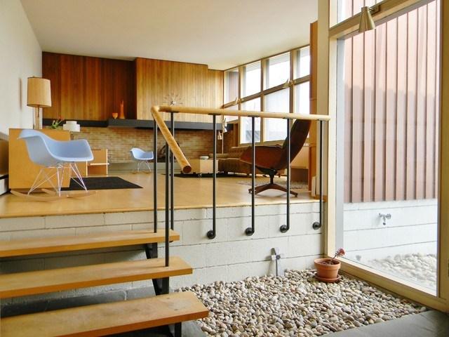 Rural Mid Century Modern Midcentury Living Room   Mid Century Modern Banister