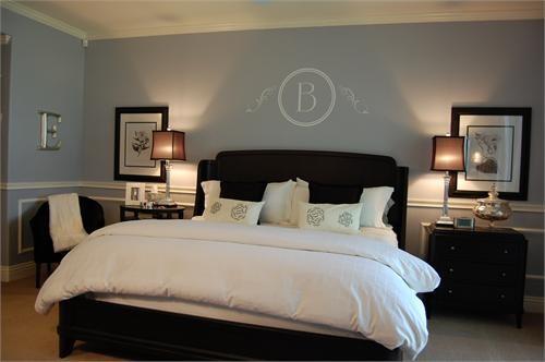 Grey Blue Bedroom With Dark Furniture Jpg
