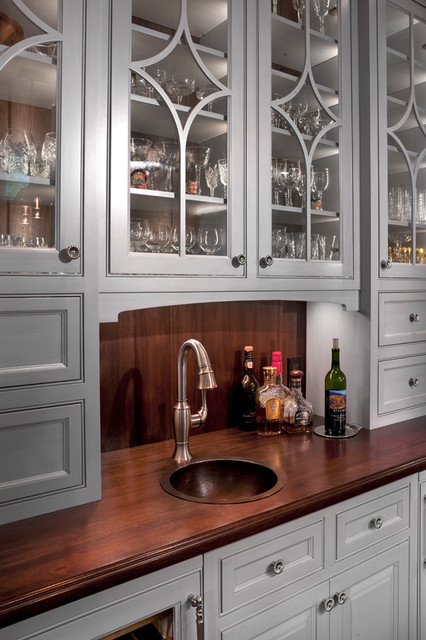 Wet Bar Wood Top Copper Sink Traditional Kitchen