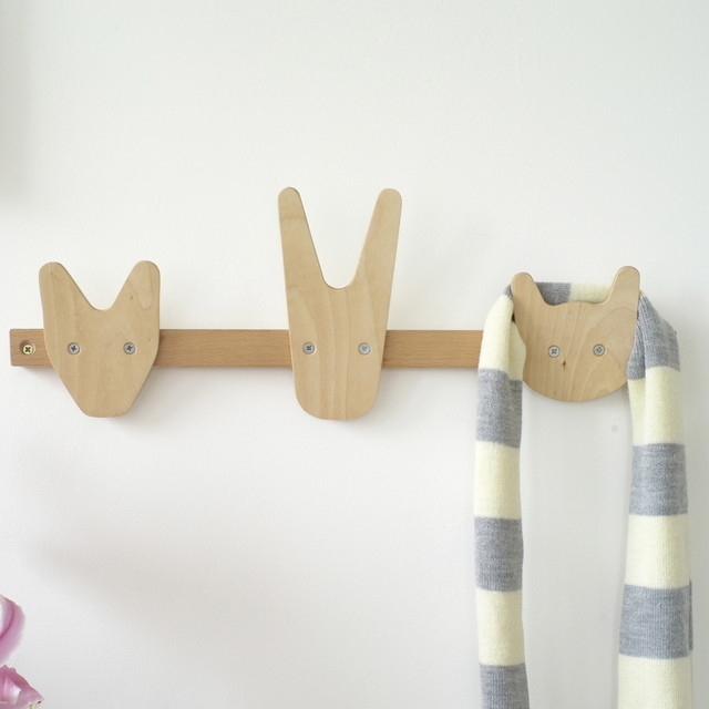 The Animals of Whittling Wood Coat Hooks - Contemporary ...