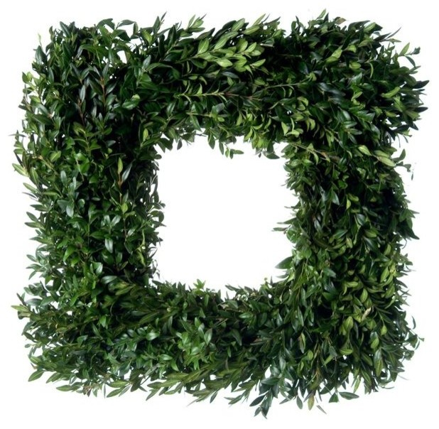 Square Fresh Boxwood Wreath - Contemporary - Wreaths And ...