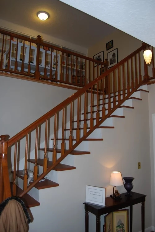 New Bannister Handrail Paint It White Or Stained To Match The Treads   White And Grey Banister   Newel Post   Narrow Awkward Staircase   Stair Railing   Entryway   Wall