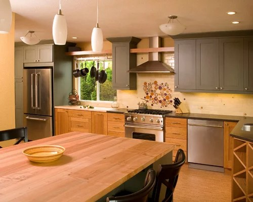 Painted Upper Cabinets Home Design Ideas Pictures