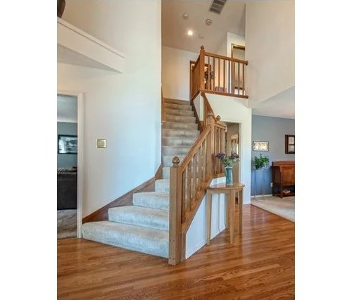 Black Blue Gray Or White To Modernize Our Oak Stair Railing | Black And White Stair Railing | Wall | Wrought Iron | Handrail | Victorian | Contemporary