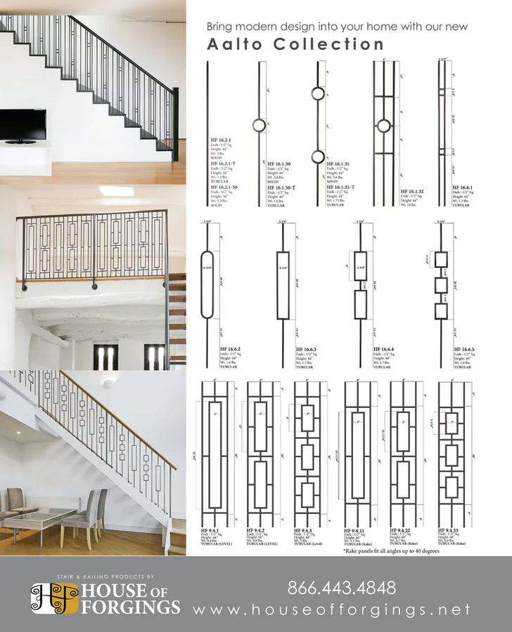 Aalto Collection House Of Forgings | House Of Forgings Aalto | Stair Parts | Aalto Modern | Aalto Collection | Wrought Iron Baluster | Handrail