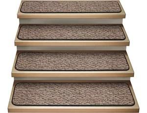 Set Of 15 Attachable Carpet Stair Treads Black Ripple | Black Carpet Stair Treads | Bullnose | Slip Resistant | Interior | Gray | Indoor