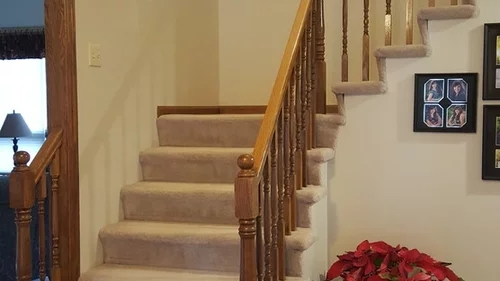 Help With Staircase Upgrades   Carpet Down Middle Of Stairs   Hardwood   Benjamin Moore   Carpet Runner   Landing   Stair Tread