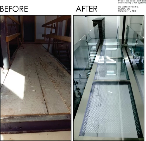 Luxury Glass Staircase Bridge Walkway   Etched Glass Stair Panels   Bannister   Mirror   Tempered Glass   Duplex   Glass Etching