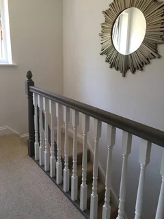Painting Banister Colours Houzz Uk   Grey And White Banister   Green White   Staircase   Gray Stained   Fixed Wall Painted   Light Grey Grey