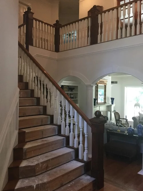 Stair Remodel Opinion White Wood Or Black Wrought Iron Spindles | Black Banister With White Spindles | Brazilian Cherry Stair | Victorian | Traditional Home | Iron Spindle White Catwalk Brown Railing | Gray