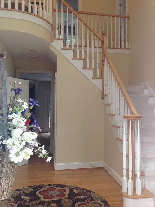 Foyer Chair Rail Or Not | Chair Rail On Stairs | Double | Traditional | Stained Wood | Remodeling | Wainscoting