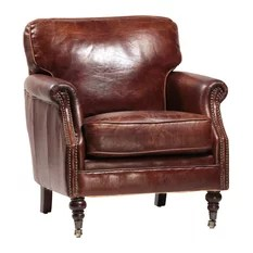 Unique Armchairs   Accent Chairs   Houzz Design Mix Furniture   Aged Leather Club Chair With Brass Studs  Antique  Brown   Armchairs