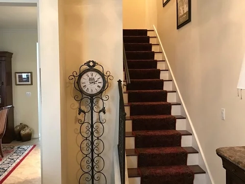 Should I Match My Hardwood Floors Stairs To Tile That Looks Like Wood   Wood And Tile Stairs   Rocell Living Room   Tile Floor   Basement   Quarter Round Stair Hardwood   White
