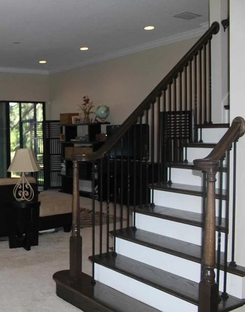 Staircase Flooring Match Stain On Staircase Or What Other Options   Carpet Stairs In The Woods   Wilderness   Open Wooden Stair   Glitter   Country House   Traditional
