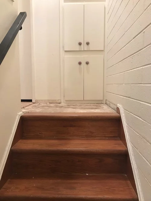 Help Uneven Landing Top Of Stairs   Wooden Stairs Carpet Landing   French Cap   Contemporary   Redo   Upstairs   Partially Carpeted