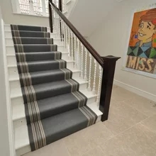Cresskill Nj Custom Stair Runner Job Transitional Staircase   Off The Loom Stair Runners   Flatweave Stair   Modern Staircase   Stair Rods   Flat Weave   Flooring