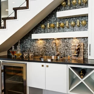 Under Stair Bar Houzz | Small Kitchen Design Under Stairs | Stair Storage | Dining Room | Basement Kitchenette | Space Saving | Small Spaces